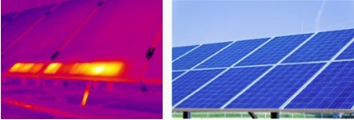 Thermogram shows hot cells in operating solar panels. Thermogram courtesy Testo India.