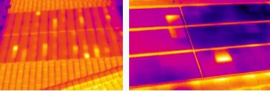 Thermograms show several discrete hotspots across solar shingles. Images by A2Z Inspection Services.